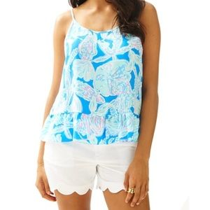 Lilly Pulitzer Into the Deep Ruffle Tank